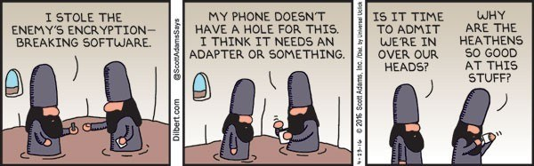 Dilbert comic strip showing Elbonians trying to plug a USB flash drive into a smartphone.